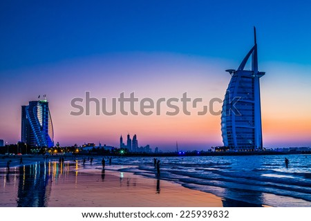 DUBAI, UAE - NOVEMBER 14 :The world's first seven stars luxury hotel Burj Al Arab, November 14, 2013 in Dubai, United Arab Emirates - stock photo