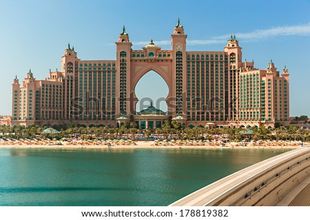 DUBAI, UAE - NOVEMBER 3: View Atlantis Hotel on November 3, 2013 in Dubai, UAE. The resort consists of two towers linked by a bridge, with a total of 1539 rooms. - stock photo