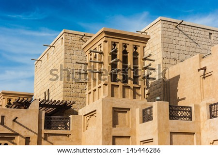 DUBAI, UAE - NOVEMBER 15: View of the  Souk Madinat Jumeirah.Madinat Jumeirah encompasses two hotels and clusters of 29 traditional Arabic houses. Nov 15, 2012 in Dubai - stock photo