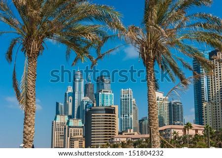 DUBAI, UAE - NOVEMBER 16: Yacht Club in Dubai Marina. UAE. November 16, 2012. Dubai was the fastest developing city in the world between 2002 and 2008. - stock photo