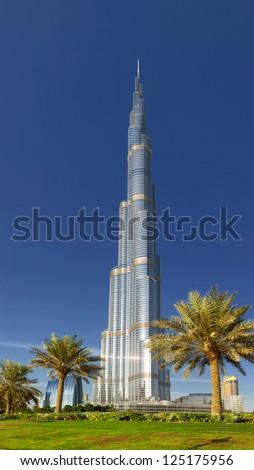 DUBAI, UAE - OCTOBER 23: Burj khalifa, the highest building in the world, Downtown on october 23, 2012 in Dubai, UAE - stock photo