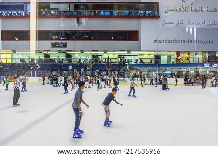 DUBAI, UAE - OCTOBER 1, 2012: Ice rink in Dubai Mall - world's largest shopping mall based on total area and sixth largest by gross leasable area. United Arab Emirates. - stock photo