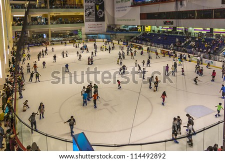 DUBAI, UAE - OCTOBER 1: Ice rink in Dubai Mall - world's largest shopping mall based on total area and sixth largest by gross leasable area, October 1, 2012 in Dubai, United Arab Emirates. - stock photo