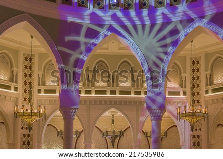 DUBAI, UAE - OCTOBER 1, 2012: Interior of Dubai Mall - world's largest shopping mall based on total area and sixth largest by gross leasable area. United Arab Emirates. - stock photo