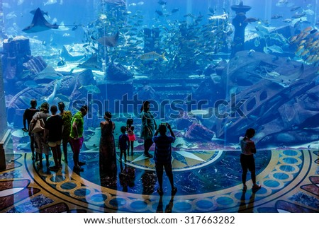 DUBAI, UAE - SEPTEMBER 7, 2015: A wide variety of fishes (more than 500 species fishes, sharks, corals and shellfish) in a huge aquarium in 5 stars Hotel Atlantis on man-made island of Palm Jumeirah. - stock photo