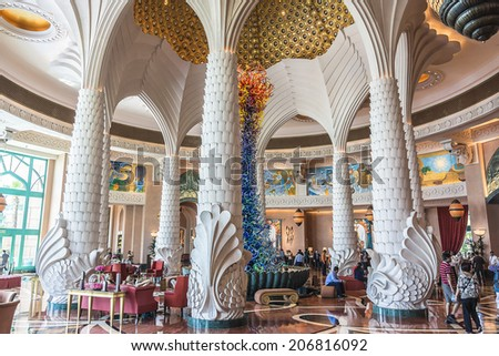 DUBAI, UAE - SEPTEMBER 30, 2012: Interior a wonderful lounge in 5 stars Hotel Atlantis (1,539 spacious guest rooms including 166 suites) on man-made island of Palm Jumeirah. United Arab Emirates. - stock photo