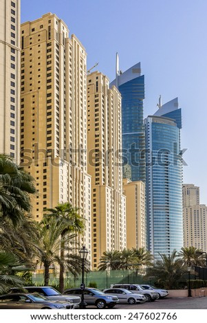 DUBAI, UAE - SEPTEMBER 30, 2012: Modern skyscrapers in Dubai (emirate and city). Dubai now boasts more completed skyscrapers higher than 0,8 - 0,25 km than any other city. - stock photo