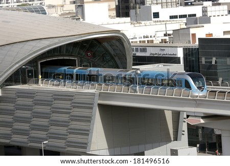 DUBAI, UAE - SEPTEMBER 03: Train moving out from a metro station in Dubai, United Arab Emirates on September 03, 2011. The Dubai Metro is the longest driverless metro network in the world