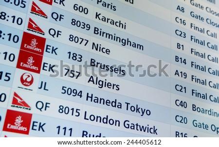 DUBAI, United Arab Emirates - DECEMBER 24, 2014: Airport Info Panel  - stock photo
