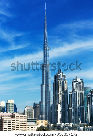 DUBAI,UNITED ARAB EMIRATES-DECEMBER 5,2013: Skyscrapers in modern Dubai city - stock photo