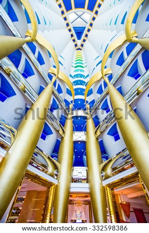 Dubai, United Arab Emirates - February 19 2007:  The hall of the luxury Burj Al Arab hotel - stock photo