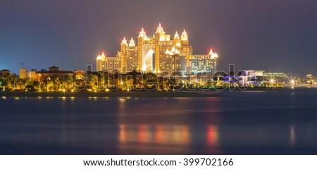 DUBAI, UNITED ARAB EMIRATES - MARCH 2, 2016: View on luxury higlighted hotel Atlantis  in Dubai,Dubai,United Arab Emirates - stock photo