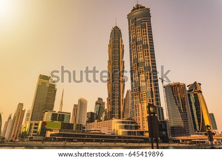 DUBAI, UNITED ARAB EMIRATES, MAY 20 2017: Dubai downtown during sunset.