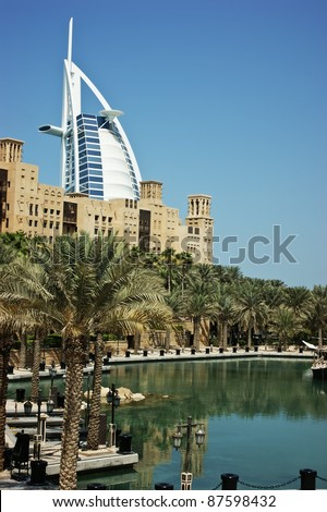 "DUBAI, UNITED ARAB EMIRATES - OCTOBER 9: A general view of the world's first seven stars luxury hotel Burj Al Arab ""Tower of the Arabs"", also known as ""Arab Sail"" on October 9, 2011 in Dubai, UAE"