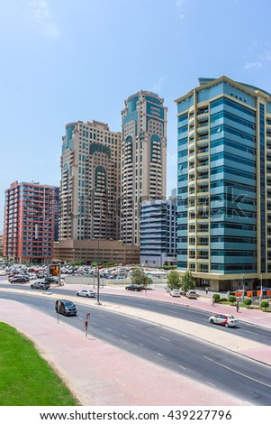 DUBAI, UNITED ARAB EMIRATES - SEPTEMBER 6, 2015: High raise Buildings in Dubai. Dubai is most populous city and emirate in UAE, and second largest emirate by territorial size after capital - Abu Dhabi