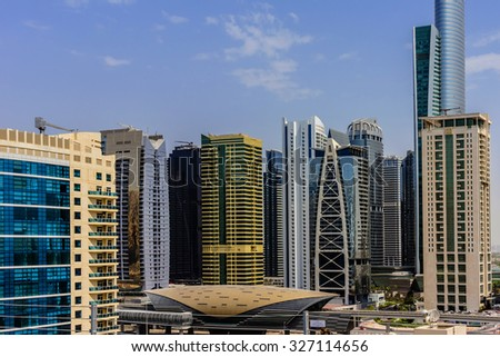 DUBAI, UNITED ARAB EMIRATES - SEPTEMBER 8, 2015: View of metro station in Dubai, UAE. Guinness World Records has declared Dubai Metro as world's longest fully automated metro network (75 km).