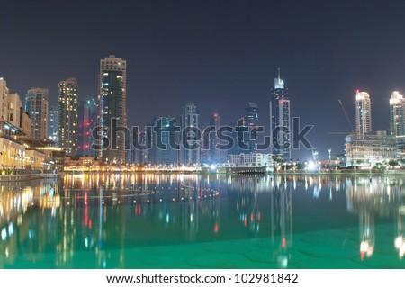 Dubai view at night time - stock photo