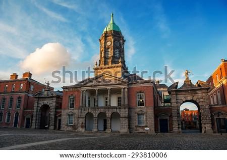 Dublin castle hall in the evening. Popular landmark in the capital of Ireland - stock photo