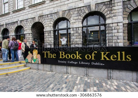 DUBLIN, IRELAND - APRIL 18, 2011: The Book of Kells Exhibition is a must-see on the itinerary of all visitors to Dublin. - Trinity College Library, Dublin, Ireland. - stock photo