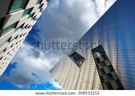 DUBLIN, IRELAND - AUGUST 3: Modern architecture of Dublin Docklands on August 3, 2015 in Dublin, Ireland. Dublin Docklands are the extension of the Dublin's International Financial Services Centre
