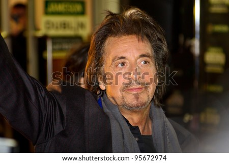 DUBLIN, IRELAND - FEBRUARY 20: Al Pacino attend at premiere of his Wilde Salome movie at Jameson Dublin International Film Festival in Savoy Cinema on February 20, 2012 Dublin, Ireland - stock photo