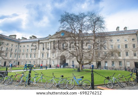 Dublin,Ireland,January 21, 2014- Trinity College in Dublin. Here is Ireland's oldest university founded in 1592. Ranked as 43rd best university worldwide. Courtyard. the other side is Bell Tower.