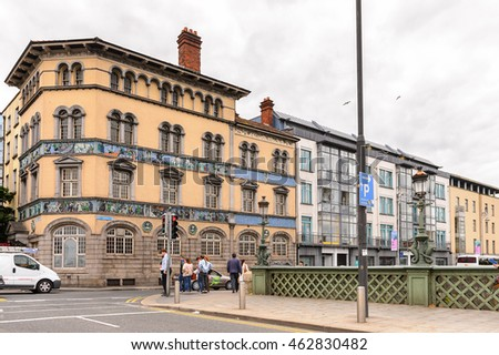 DUBLIN, IRELAND - JULY 12, 2016: Architecture on a bank of the river Liffey  in Dublin, the capital and largest city of Ireland.