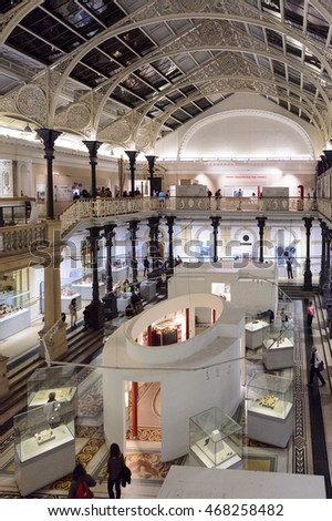 DUBLIN, IRELAND - JULY 12, 2016: Interior of the National Museum of Ireland, established on the 14th August 1877