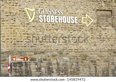 DUBLIN, IRELAND - MAY 25: a sign for the Guinness Storehouse on May 25, 2013 in Dublin, Ireland. The Guinness Storehouse is a popular tourist attraction with 1,087,209 visitors in 2012 - stock photo