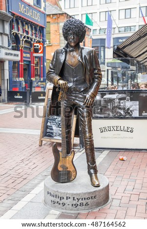 DUBLIN, IRELAND - 05 MAY, 2016: Phil Lynott Statue in Harry Street. The Irish musician, singer and songwriter was the lead vocalist of the famous band Thin Lizzy.