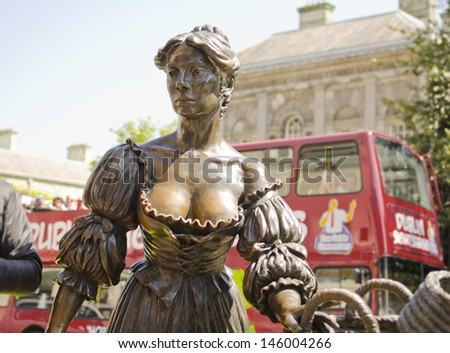 DUBLIN, IRELAND - MAY 25: the Molly Malone statue on May 25, 2013 in Dublin, Ireland. Molly Malone is a fictional character of Dublin legends and the statue was unveiled in 1988. - stock photo