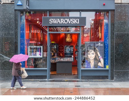 DUBLIN, IRELAND  OCTOBER 3, 2014: A Swarovski store. Swarovski has its HQ in Wattens, Austria, employs over 20,000 people and is present in more than 120 countries.