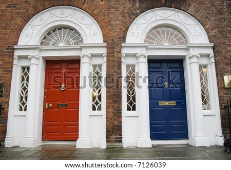 Dublin red and blue doors in Georgian architecture