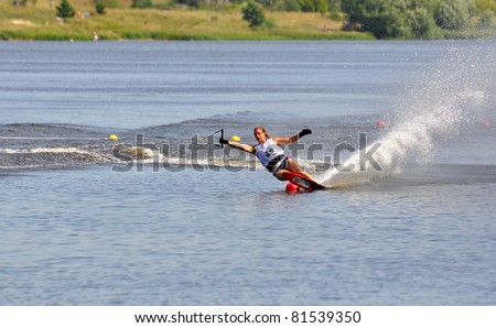 DUBNA, MOSCOW REGION/RUSSIA – JULY 23: Adriaensen Kate (Belgium), Waterski World Championship, Ladies Slalom Final on July 23, 2011 in Dubna, Russia.