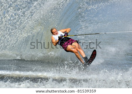 DUBNA, MOSCOW REGION/RUSSIA – JULY 23: Bennett Danyelle (USA), Waterski World Championship, Ladies Slalom Final on July 23, 2011 in Dubna, Russia.