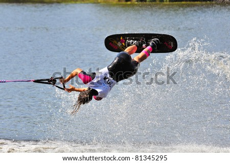 DUBNA, MOSCOW REGION/RUSSIA – JULY 19: Caruso Silvia (Italy), Waterski World Championship, tricks ladies competition on July 19, 2011 in Dubna, Russia.