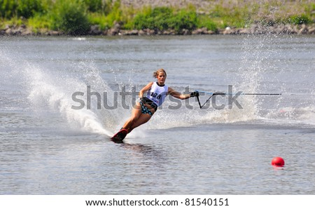 DUBNA, MOSCOW REGION/RUSSIA – JULY 23: Franc Ambre (France), Waterski World Championship, Ladies Slalom Final on July 23, 2011 in Dubna, Russia.