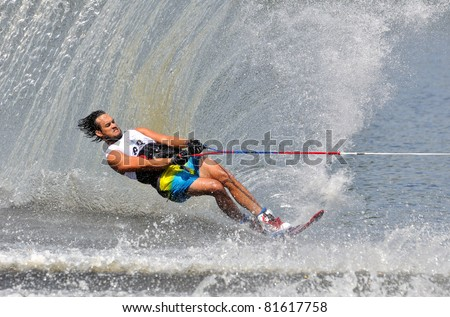 DUBNA, MOSCOW REGION/RUSSIA – JULY 24: Travers Jonathan (USA), Waterski World Championship, Men Slalom Final on July 24, 2011 in Dubna, Russia.