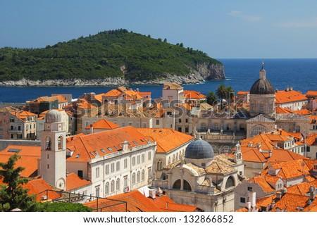 Dubrovnik, adriatic sea in Croatia - stock photo