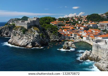 Dubrovnik, Adriatic Sea in Croatia - stock photo