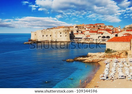 Dubrovnik beach at sunrise - stock photo