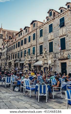 Dubrovnik, Croatia - August 26, 2015. People sits in restaurant on the Old Town of Dubrovnik - stock photo