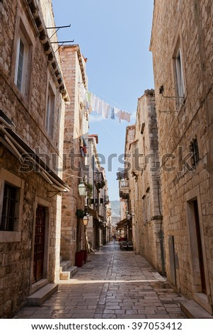 DUBROVNIK, CROATIA - FEBRUARY 19, 2016: Ancient medieval street in Old Town of Dubrovnik (UNESCO site), Croatia. Dubrovnik was a popular filming site for HBO drama Game of Thrones
