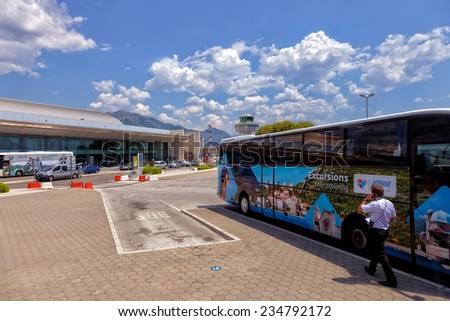 DUBROVNIK, CROATIA - JULY 17: Bus parking in front of the Dubrovnik Airport, on July 17, 2014 in Dubrovnik, Croatia. The airport is located approximately 15.5 km from Dubrovnik city centre.