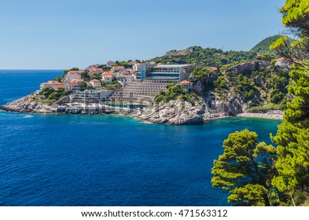 DUBROVNIK, CROATIA - 14TH AUGUST 2016: A view towards the Hotel Rixos Libertas Dubrovnik in the summer.