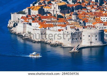 Dubrovnik, Croatia, top view, overlooking the town. - stock photo