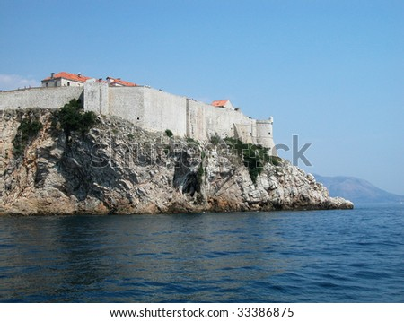 Dubrovnik fortified town view from the sea, Croatia