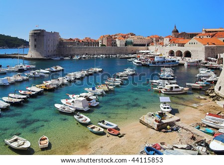 Dubrovnik harbor, Croatia - stock photo