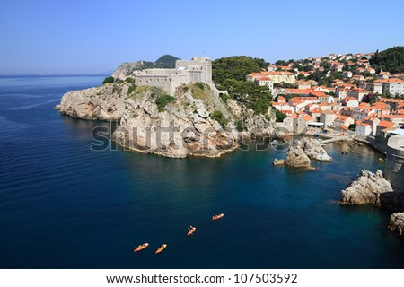 "Dubrovnik is nicknamed ""Pearl of the Adriatic"" and is listed as a UNESCO World Heritage Site since 1979. - stock photo"