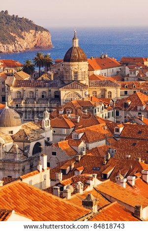 Dubrovnik Old Town at sunset - stock photo